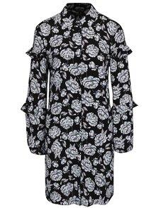 Krémovo-čierne kvetované košeľové šaty Miss Selfridge
