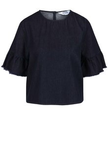 Bluza albastra din denim cu maneci 3/4  Miss Selfridge