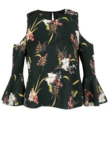 Tmavozelená kvetovaná blúzka s odhalenými ramenami Miss Selfridge