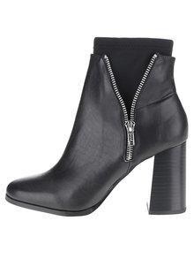 Černé kožené kotníkové boty na podpatku Miss Selfridge