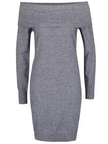 Světle šedé žíhané  svetrové šaty s odhalenými rameny  VERO MODA Vicky