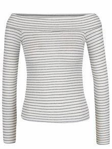 Krémové pruhované tričko s odhalenými ramenami Miss Selfridge