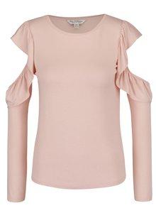 Bluză roz piersică Miss Selfridge cu decupaje la umeri
