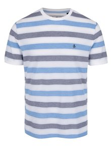 Tricou alb & albastru Original Penguin Birdseye din bumbac cu model în dungi