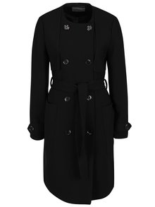 Palton negru cu decolteu rotund și cordon VERO MODA Janna