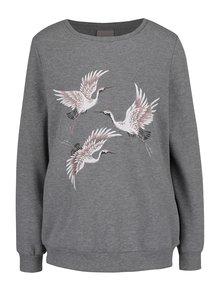 Bluză gri melanj cu imprimeu cu păsări VERO MODA Sidi