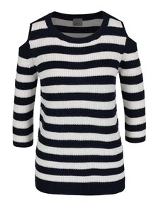 Krémovo-modrý pruhovaný sveter s prestrihmi na ramenách VERO MODA Sailor