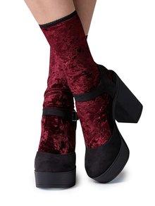 Vínové zamatové ponožky Gipsy