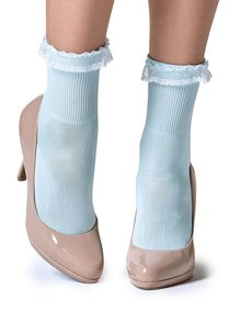 Șosete albastru deschis Gipsy cu dantelă în partea superioară