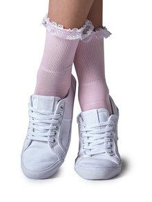 Svetloružové ponožky s čipkou Gipsy