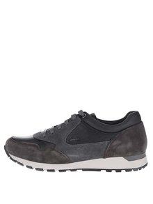 Pantofi sport gri & negru Geox Emildon cu detalii din piele întoarsă
