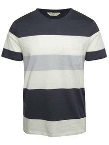 Krémovo-modré pruhované triko s kapsou Selected Homme Rune