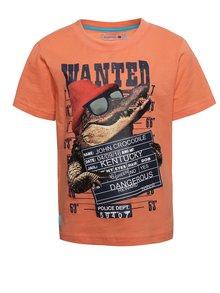 Oranžové klučičí triko s potiskem krokodýla Bóboli
