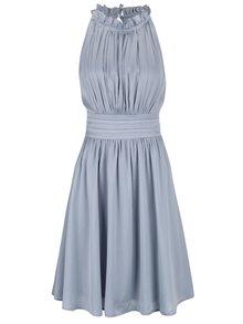 Modro-sivé lesklé šaty s plisovaným topom Little Mistres