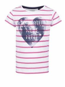 Tricou alb & roz Blue Seven din bumbac cu model în dungi și print
