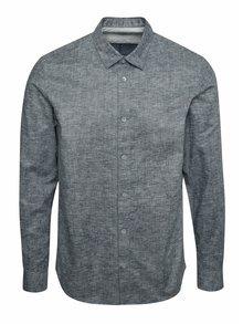 Modro-sivá žíhaná slim fit košeľa Selected Homme Doneoscar