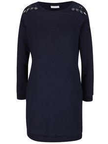 Tmavě modré mikinové šaty s krajkovými detaily VILA Cune