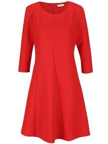 Červené rebrované šaty s 3/4 rukávmi VILA Makka