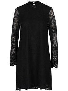 Čierne čipkované šaty so stojačikom VILA Loras