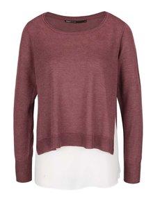 Vínový sveter 2v1 s odnímateľným krémovým tielkom ONLY Sue