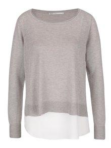 Sivý sveter 2v1 s odnímateľným krémovým tielkom ONLY Sue