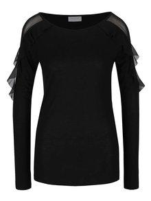 Černé tričko s průsvitnými volány VILA Haly