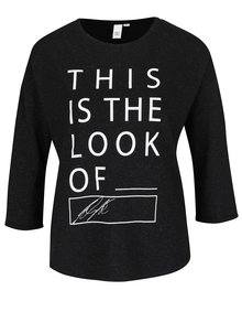 Čierne tričko s potlačou a 3/4 rukávom QS by s.Oliver