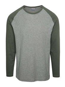 Zeleno-sivé tričko s dlhým rukávom Jack & Jones New Stan
