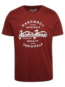 Cihlové triko s potiskem Jack & Jones New