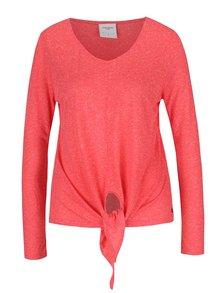 Červené žíhané tričko s příměsí lnu VERO MODA Lua