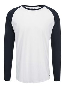 Biele tričko s modrými rukávmi Jack & Jones Stan