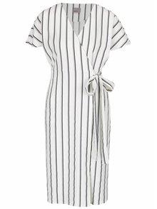 Černo-krémové pruhované zavinovací šaty s kapsami VERO MODA Lucca