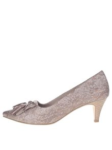 Pantofi maro Tamaris cu aspect metalic