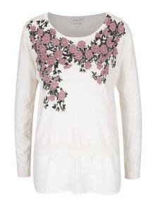 Krémový květovaný svetr s šifonovým lemem Apricot