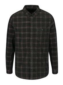 Tmavě zelená kostkovaná manšestrová košile Burton Menswear London