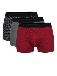 Sada tří boxerek v červené, šedé a černé barvě Burton Menswear London