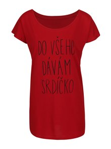 Červené dámské tričko ZOOT Originál Do všeho dávám srdíčko