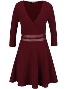 Vínové šaty s průsvitným pasem TALLY WEiJL