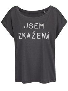 Tmavě šedé dámské oversize tričko ZOOT Originál Jsem zkažená