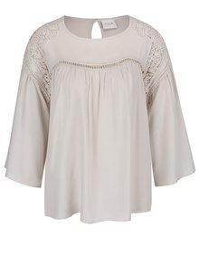 Krémové tričko s 3/4 zvonovými rukávy VILA Amiran