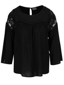 Čierne tričko s 3/4 zvonovými rukávmi VILA Amiran