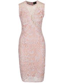 Ružové čipkované šaty s priesvitnými detailmi AX Paris