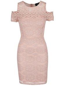 Růžové krajkové šaty s průstřihy na ramenou AX Paris