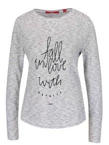 Čierno-krémové dámske pruhované tričko s potlačou s.Oliver