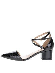Černé dámské lesklé boty na podpatku Miss KG