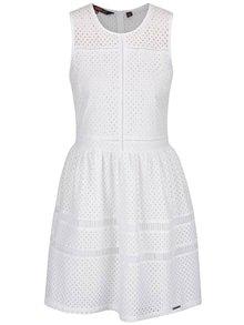 Biele čipkované šaty bez rukávov Superdry