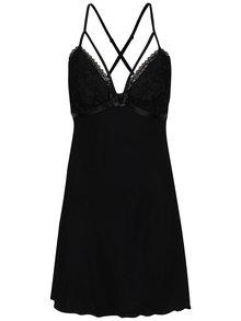 Černá noční košilka s krajkovými detaily a pásky v dekoltu Eldar Elektra