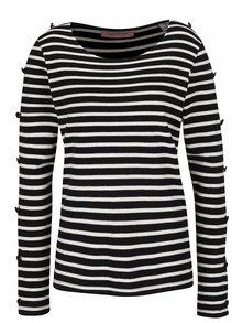 Krémovo-černé pruhované tričko s knoflíky na rukávech Maison Scotch