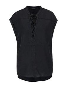 Bluză neagră Maison Scotch cu decolteu în V cu șiret