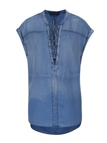 Bluza din denim albastra cu siret la decolteu Scotch & Soda